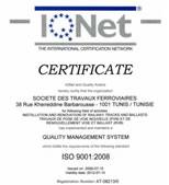 Certificat IQNET :: IQNET Sotrafer Certificate